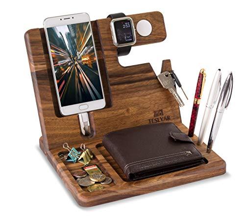 Halterung für Handys aus natürlichem Eichenholz für Uhren Organizer für Herren Geschenk für Ehemann Ehefrau Jahrestag Vater Geburtstag Nachttisch Geldbörse