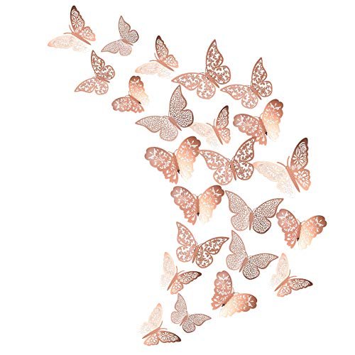 Xinzistar 48 PCS 3D Butterfly Wall Stickers Metallic Wall Decals Art Stickers Murals DIY Butterfly Decorations for Home Bedrooms Living Room (Rose Gold)