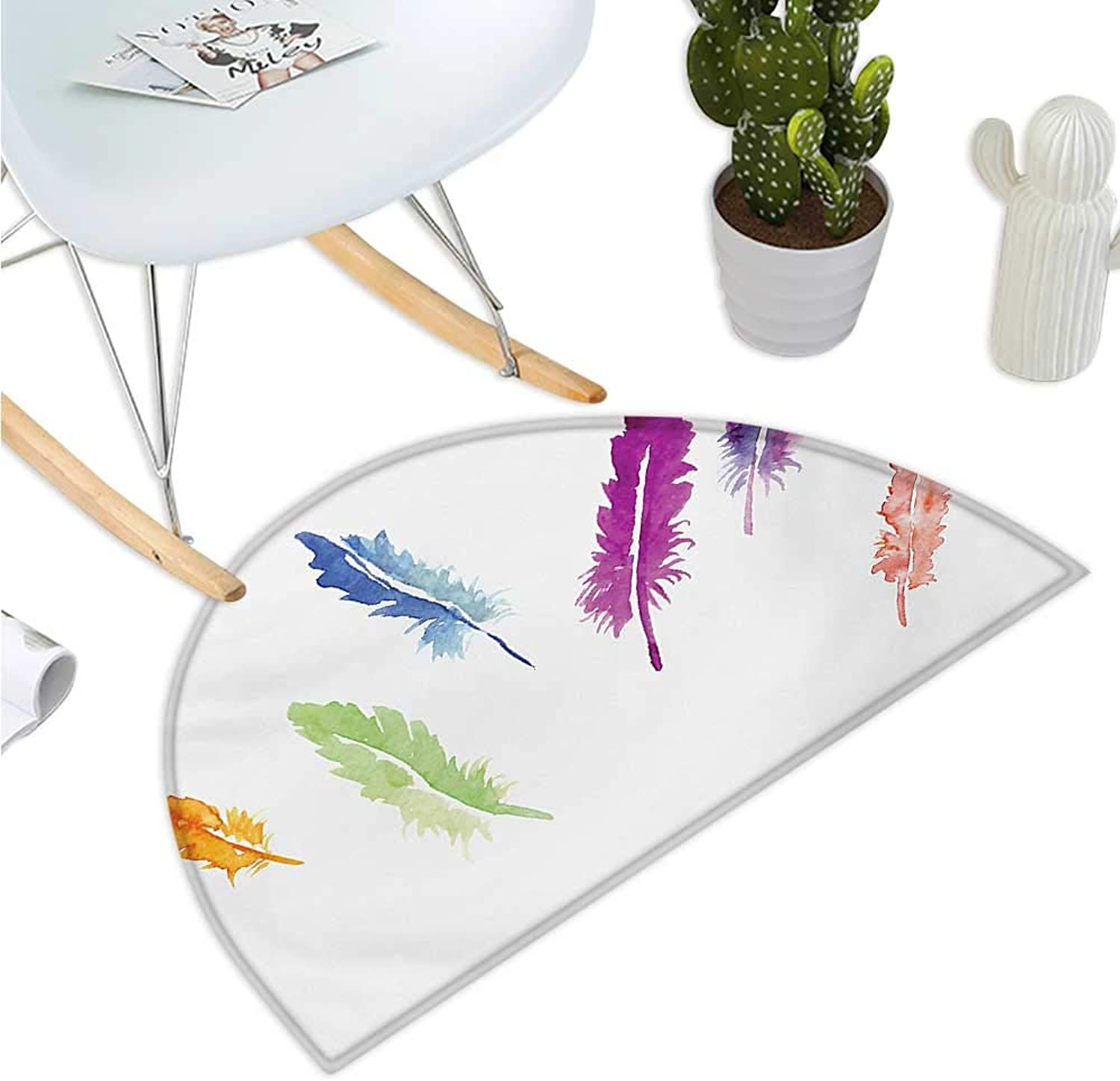 colorful Semicircular Cushion Watercolor Style Abstract colorful Bird Feathers Artistic Nature Wildlife Theme Halfmoon doormats H 35.4  xD 53.1  Multicolor