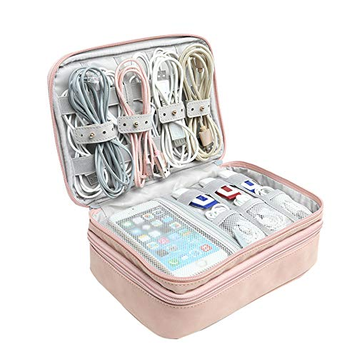 Xbd Bolsa organizadora de Cables de Viaje,Estuche Cables,Bolsa Universal para Cables,Banco de energía,Unidad USB,Cargador de Disco Duro (Pink)