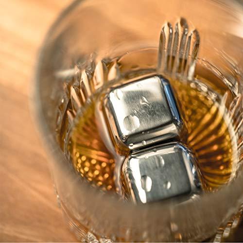 KOBERT GOODS - 4 Whisky-Steine in Farbe Edelstahl Eckig - wiederverwendbare Kühlsteine aus echtem Speckstein od. gebürstetem Edelstahl - Eiswürfelersatz (eckig/ oval) für perfekte Kühlung ohne Verwässerung - mit Stoffbeutel - 8