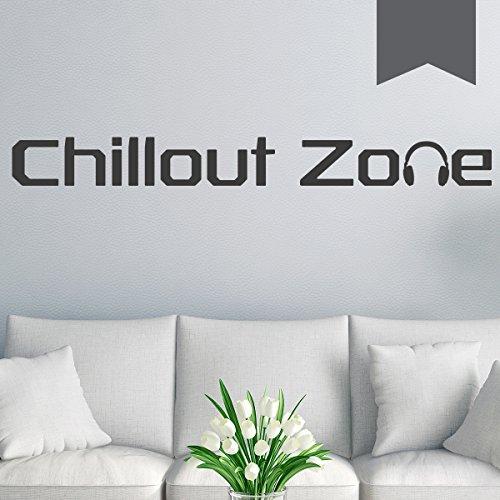 WANDKINGS Wandtattoo - Chillout Zone - 135 x 15 cm - Dunkelgrau - Wähle aus 5 Größen & 35 Farben