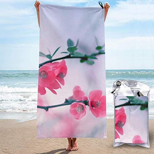 YUYUTE Strandtücher Für Frauen Männer Blanket Cherry Blossom Flowers Bath Sheets Funny Polyester Outdoors Large Towel Cover for Yoga Mat Hiking Gym Tent Floor 27.5