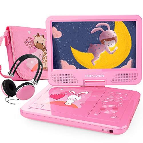 DBPOWER 10,5\'\' Tragbarer DVD Player mit 270° Schwenkbaren Bildschirm 5 Stunden wiederaufladbare Batterie Kinder CD Player Unterstützt SD/USB/AV Out/IN (Rosa)