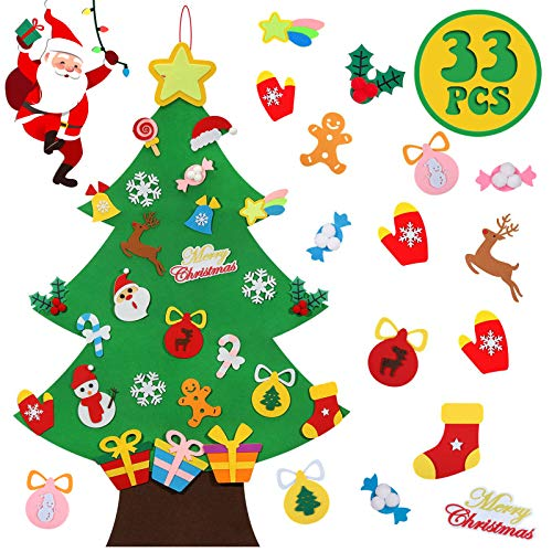 Lafefo Felt Christmas Tree - 3.6 FT 3D DIY with 33 Pieces of Ornament Decor, Christmas Tree Decorations