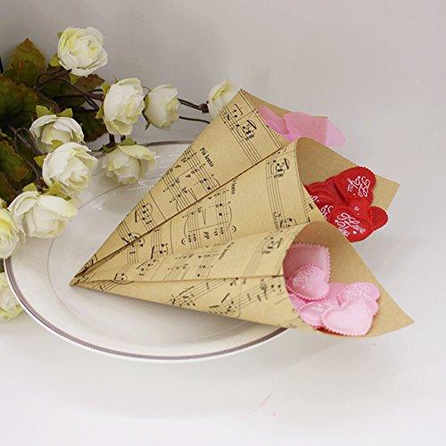 100 PZ Fai da Te Coni Portaconfetti Carta Kraft con Il Simbolo della Musica retrò per Matrimonio, Battesimo, Laurea, Compleanno, Nascita 【 Invito Bomboniere Partecipazione Segnaposto 】