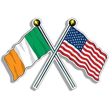 WickedGoodz Circle Irish Flag Shamrock Vinyl Decal Four Leaf Clover Bumper Sticker