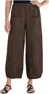 Eldori ファッション人気 超快適 通気性 余暇 春夏秋冬 女性、女の子 レディ無地 ポケットコットンとリネンのゴムバンドロングとワイドレッグパンツ緩いズボン S-3XL