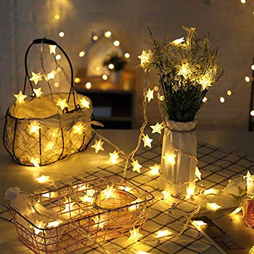 Star Lights String Battery Charged Star Decorations Warm White Decorative Stars for Weddings Birthday