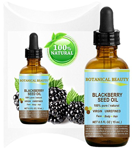Botanical Beauty Blackberry Seed Oil 100% Pure / Natural / Virgin/ Unrefined. Cold Pressed / Undiluted Carrier Oil. 0.5 Fl.oz -15 ml. \