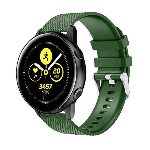 HappyTop - Correa de Silicona Moderna Compatible con Samsung Galaxy Watch Active Watch - Bandas Deportivas Unisex, Color Verde Militar, Deportes