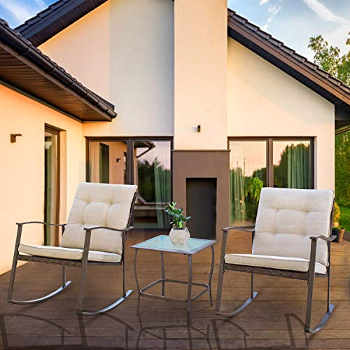SOLAURA Outdoor Furniture 3-Piece Rocking Wicker Patio Bistro Set Brown Wicker with Beige Cushions, Two Rocking Chairs with Glass Coffee Table