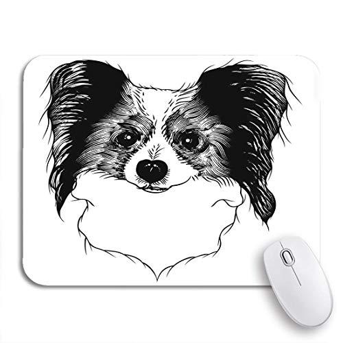Gaming mouse pad porträt von papillon doggy dog und tattoo in schwarz rutschfesten gummi backing computer mousepad für notebooks maus matten