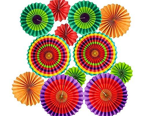 SCSpecial Abanicos de papel con forma de flor para colgar en la...