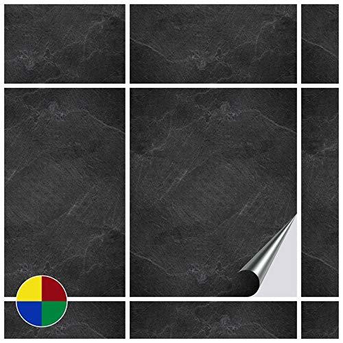 FoLIESEN Fliesenaufkleber 20x25 cm - Fliesen-Folie Bad - Klebefolie Küche - 30 Klebefliesen, Dekor Black Slate