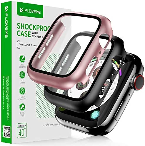 FLOVEME for Apple Watch Case 40mm Series se/6/5/4 with Screen Protector 2 Pack, for iWatch Case Women or Men Thin Cover Compatible with Apple Watch Case 40mm Series se/6/5/4 [Black and Pink, 40mm]
