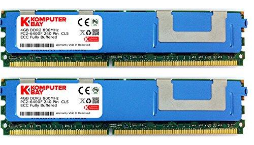 Komputerbay 8GB (2X4GB) DDR2 PC2-6400F 800MHz ECC Fully Buffered FB-DIMM (240 PIN) 8GB w / Heatspreader