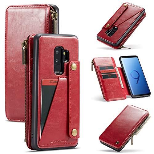 Funda para Samsung Galaxy S9 Plus de piel sintética con tapa de piel sintética y función atril, antiarañazos, 2 en 1 rojo 42