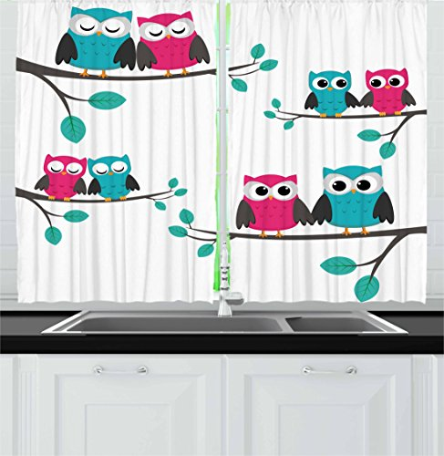 Ambesonne Nursery Kitchen Curtains, Couples of Owls Sitting on Spring Branches Funny Cartoon Characters, Window Drapes 2 Panel Set for Kitchen Cafe Decor, 55