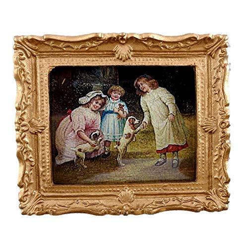 Melody Jane Maison Enfants & Pupplies Photo Peinture Cadre Or Miniature Accessoire