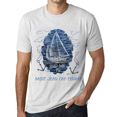 Uomo Maglietta Tee Vintage T Shirt Ship Me To Saint Jean cap FERRAT Bianco Chiazzato