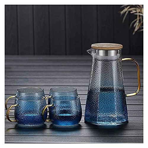 LITINGT Tetera Tetera de Vidrio, Resistente al Calor, con Filtro, Tetera Transparente, Juego de té, la Tetera Azul fría es Ideal para Hacer (tamaño: 1.1L + 4 Tazas)