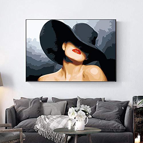 OKOUNOKO Pintura por Conjunto Digital, Mujer Sexy, Cuadro para Colorear Lienzo, Decoración del Hogar, Sin Marco Regalo para Un Amigo, 50X60Cm