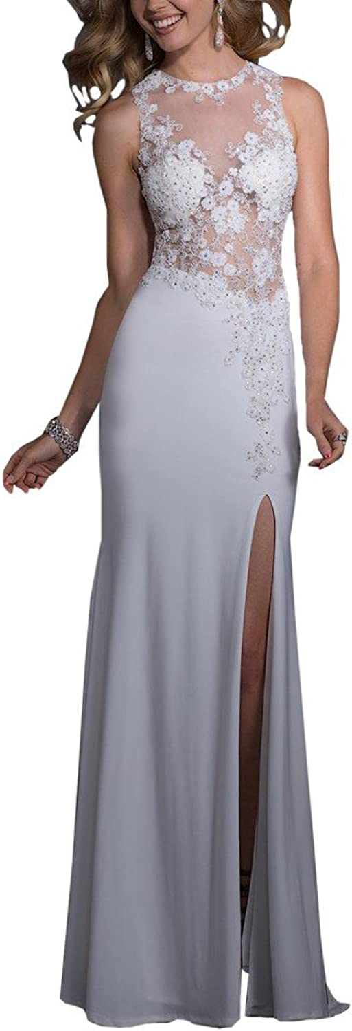 CCBubble Prom Dresses Long Lace High Split Sexy Backless Prom Party Dress