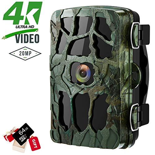 4K Wildkamera 20MP Jagdkamera, Überwachungskamera mit Nachtsicht, Wasserdichte Aufklärungskamera mit 0,2s Bewegungsmelder, 120° Weitwinkel, Loop-Aufnahme für Sicherheit Wildtieren im Freien (Grün)