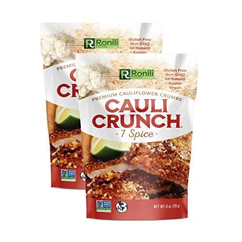 Cauli Crunch Plant Based Cauliflower Crumbs, 2-PACK (2x6 oz), Gluten Free, Non-GMO, Bread-Free Crumbs, Kosher (7-Spice)