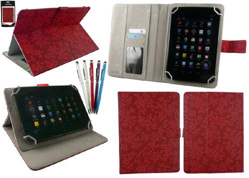 emartbuy Bündel von 5 2 in 1 Eingabestift +Universalbereich Jahrgang Blumen Rot Folio Hülle Schutzhülle Cover Wallet Hülle Schutzhülle mit Kartensteckplätze Geeignet für Odys Pro Q8 8 Inch Tablet