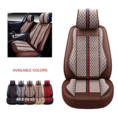 OASIS AUTO Leather Car Seat Covers, Faux Leatherette Automotive Vehicle Cushion Cover for Cars SUV Pick-up Truck Universal Fit Set for Auto Interior Accessories (OS-007 Front Pair, Brown)