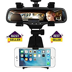 LovelyNetworks Car Phone Holder Car Rearview Mirror Mount Phone Holder 360 Degrees for iPhone Samsung GPS Smartphone Stand Universal