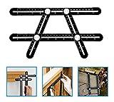 Multi Angle Measuring Ruler, BOMPOW Aluminum Alloy Multi Angle Ruler Template Tool Layout Tool Measurement for Handymen, Builders, Craftsmen, DIY-ers, Black