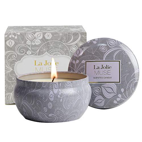 LA Jolie Muse Candele Profumate Regalo Aromaterapia Candela di Cera Naturale con 3 Stoppini Fragranza Fresco Cotone Formato Grande 400g (Loto Blu)