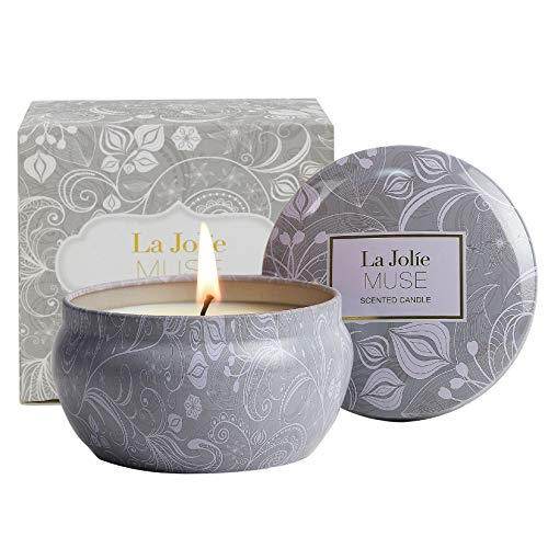 La Jolíe Muse Aromatherapy Scented Candles - Blue Lotus Essential Oil Stress Relief Soy Candles,185g Natural Soy Wax Travel Tin Relaxing Candle for Bath Spa Meditation, Relaxation Gift for Christmas