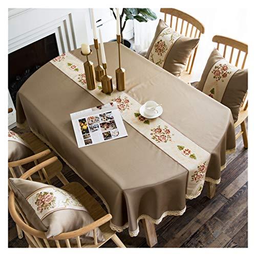 SRQOESFF Manteles Larga semela Ovalada de Tela de Lujo de Lujo de Estilo Euro, Mantel Ovalado para Bodas/Fiesta/Banquet, Cubierta de Mesa Bordada para la decoración del hogar