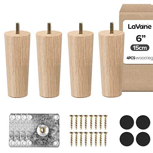 6 Zoll / 15cm Holz Tischbeine, La Vane 4 Stück Massivholz Konisch Ersatz Möbelfüße Möbelbeine mit vorgebohrten M8 5/16