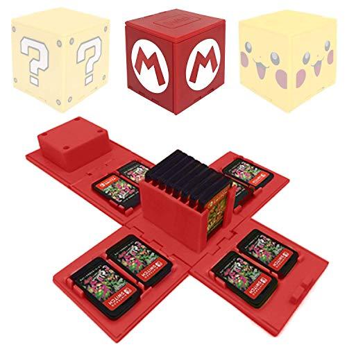 Funda de Juego - Compatible para Nintendo Switch Compatible con hasta 16 Juegos de Nintendo Switch Organizador de Tarjeta de Juego Contenedor de Viaje (Mario Rojo)
