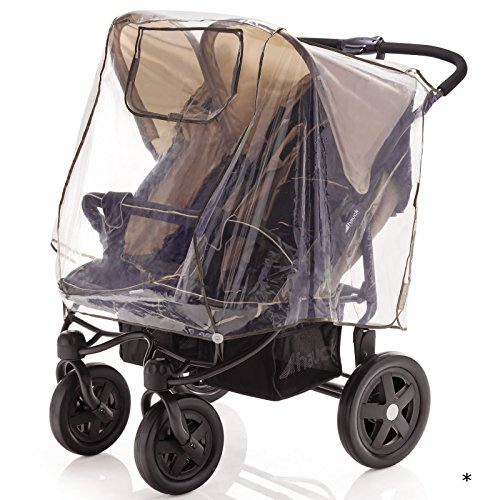 Regenschutz für Zwillingssportwagen und Zwillingsbuggys mit Verdeck (Kinder sitzen nebeneinander) • Zwillings-Kinderwagen Universal Regenhülle Buggy Abdeckung Regen
