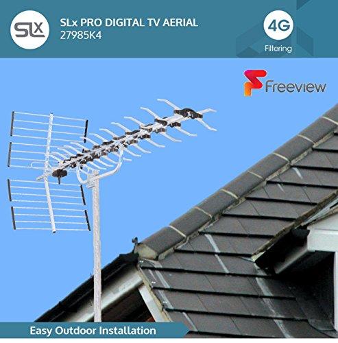 Antenne TV Exterieur TNT SLx 27985K4 Kit Antenne 64 Eléments avec Filtre 4G intégré