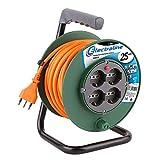 Electraline 49108 Prolunga Elettrica 25 mt con Avvolgicavo 4 Prese Polivalenti (Schuko + 10/16A) Spina Grande 16A, con Protezione-Sezione Cavo 3G1 mm², Verde-Arancio