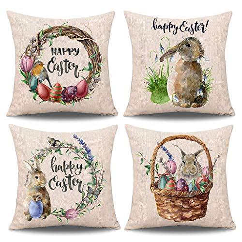 Qintaiourty Fundas de cojín de Pascua, 4 piezas, funda de almohada de primavera de Pascua, conejo con huevos de conejo