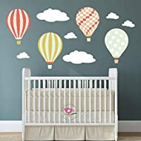 Hot Air Balloon Wall Stickers, kids wall decal, Baby Decor Nursery Mural, girl & Boy Bedroom decorations Children's Wall...