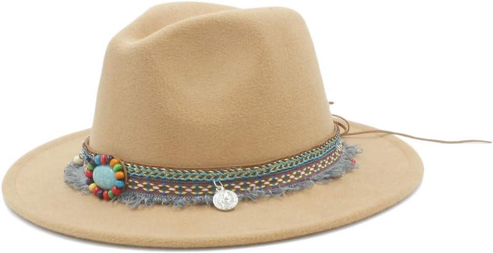 L.W.SUSL Men Women Winter Wool Fedora Hat with Tassel Ribbon Panama Jazz Hat Wide Brim Hat (Color : Khaki, Size : 56-58)