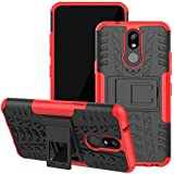Viodolge Case Compatible with LG K40 Case, K12 Plus/X4 2019/LMX420 Phone Case, [Shockproof] Hybrid Tough Rugged Dual Layer Protective Phone Case Cover with Kickstand (red)
