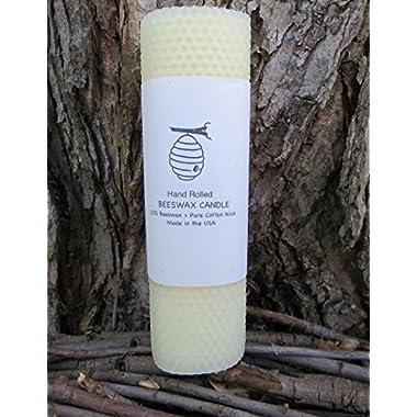 100% Beeswax Pillar Candles - 8  Pillar - White (Ivory)