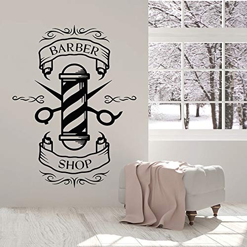 Icon Logo Wall Decal Man Hair Cutting Hairstyle Door Window Vinyl Stickers Barber Shop Hair Salon Interior Decor Wallpaper