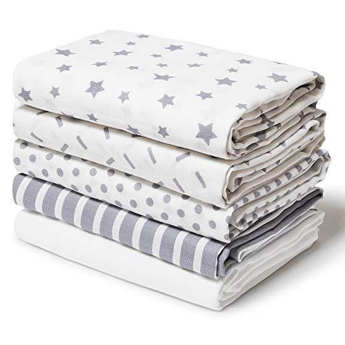 Mullwindeln Spucktücher 10er 80x80 cm Waschlappen 100% weicher Baumwolle Multifunktionale Wickeldeckenquadrate für Kinder Babytuch