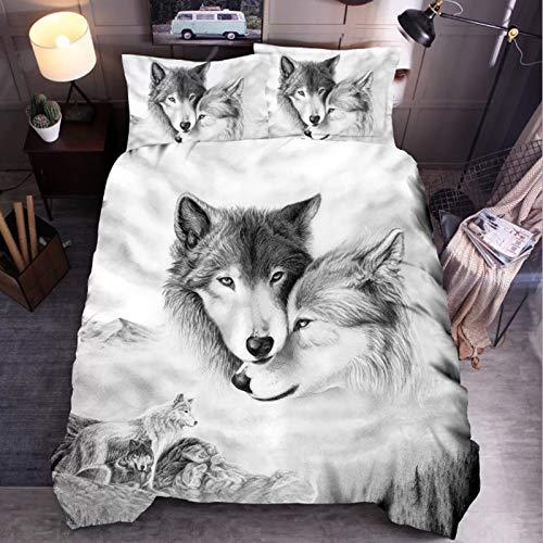 HHDL Juego de ropa de cama con estampado de lobo en 3D, funda nórdica suave, con cremallera, 220 x...
